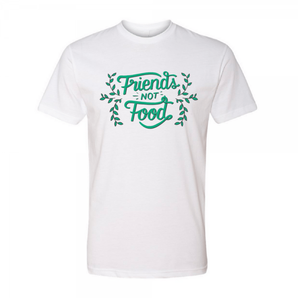 eh vegan friends not food t-shirt white