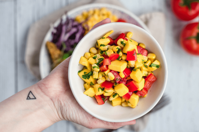eh vegan mango salsa buddha bowl